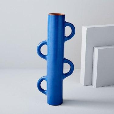 west elm tall handled cobalt blue vase