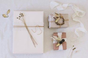 modern boho gift wrap