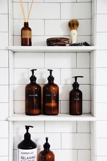 DIY amber shower bottles