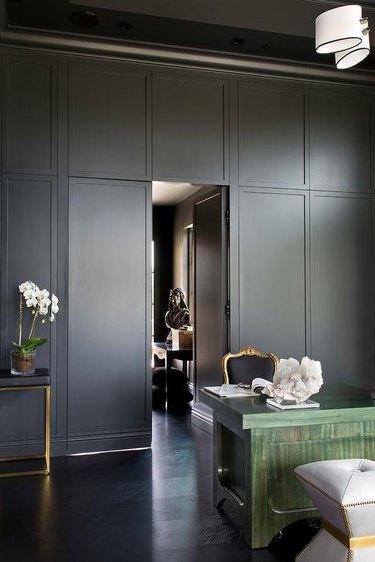 Home Office Doors with Black jib door in home office designed by Andrea Schumacher Interiors
