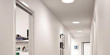 Hall with tubular skylights