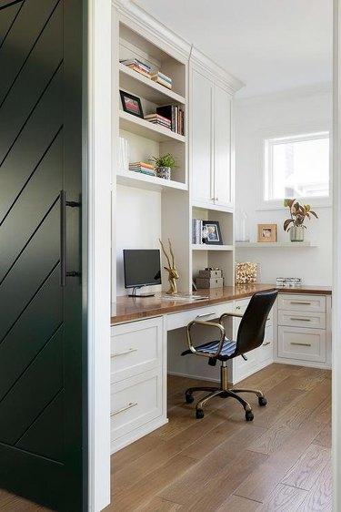 Home Office Doors with Herringbone patterned black barn door by ADŌR Bespoke Homes