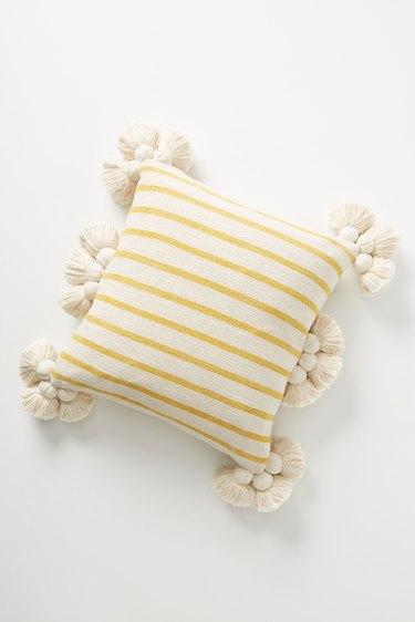 yellow striped pillow