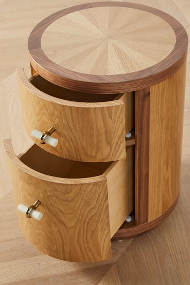 round wood nightstand