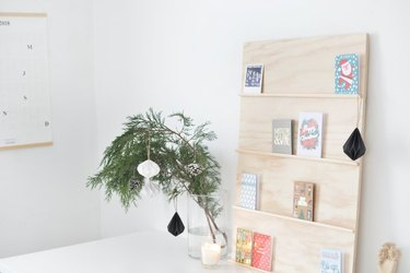 DIY plywood display for holiday cards