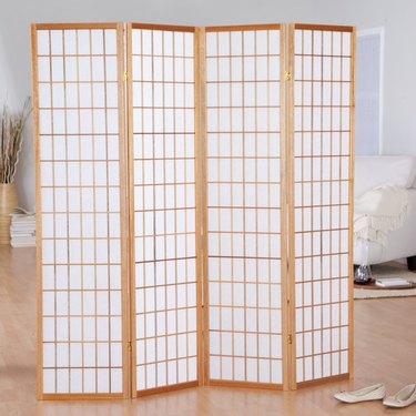 Hayneedle Jakun Honey Shoji 4 Panel Room Divider