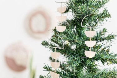 simple wooden ornaments with metal ring for hanging