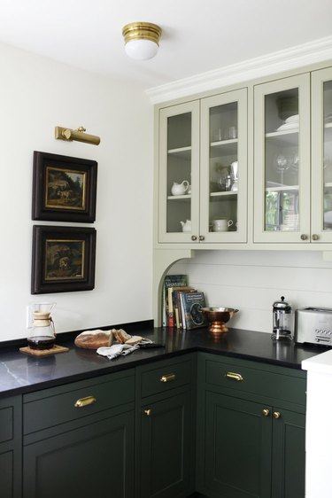 two-tone kitchen cabinets with black soapstone kitchen countertops