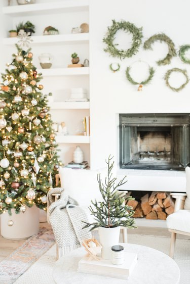 Christmas tree in white living room