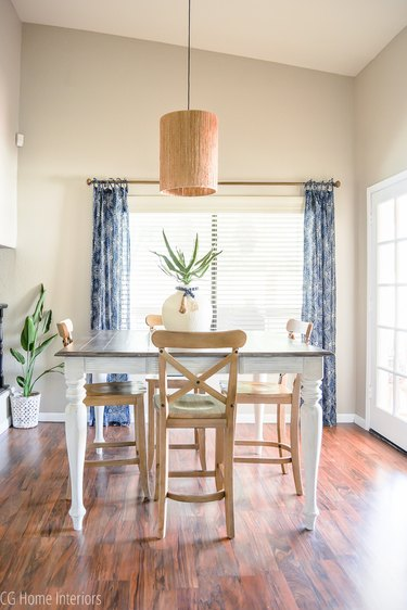Greige walls and a farmhouse dining table