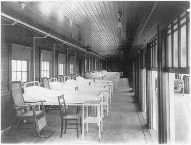 ward building at historic sanatorium with empty beds and windows