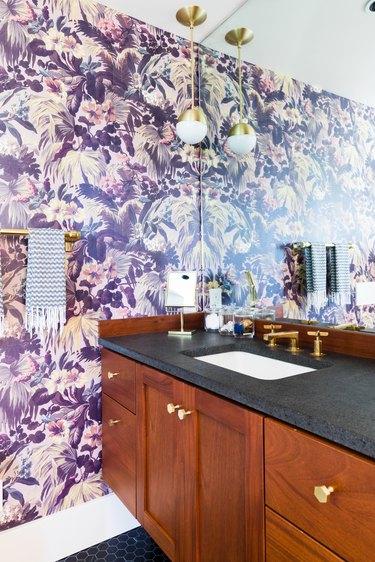 bathroom with purple wallpaper