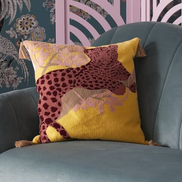 Drew Barrymore Flower Home Leopard Boucle Embroidered Decorative Throw Pillow, $34