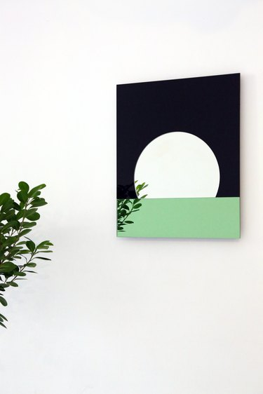 mirror with round shape and reflection of plant