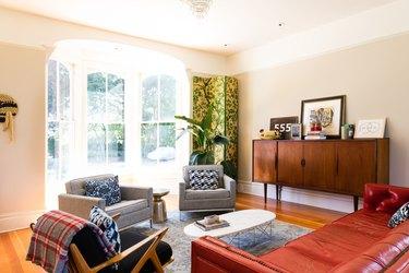 midcentury living room with bay window