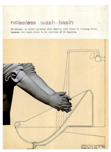 Paimio sink drawing - noiseless wash basin