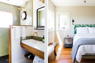 bedroom and bathroom with green tile