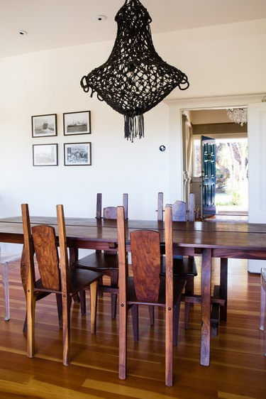 dining room with black light fixture