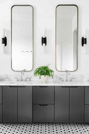 bathroom cabinet idea with custom doors and integrated handles