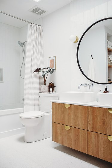 bathroom cabinet idea with Semihandmade doors topped with vessel sinks