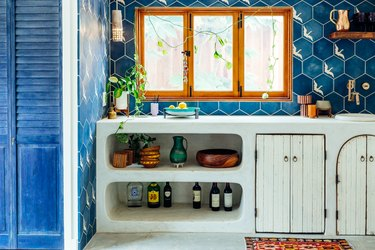 Garage Organization Tips and Tricks with sink and blue tile