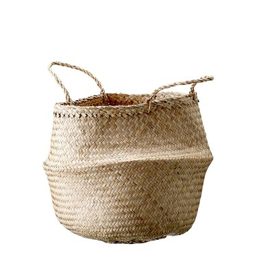 Plain seagrass foldable basket with two handles