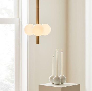pendant light with three orbs