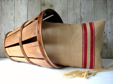 burlap pillow with red stripes