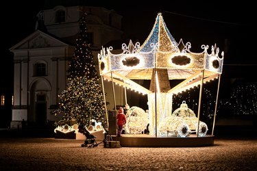 Christmas Light Ideas with carousel in front yard