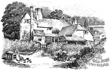 black and white illustration of a farmhouse style home