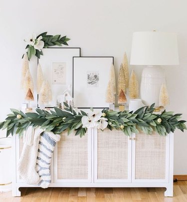 DIY Christmas theme idea with garland and stockings