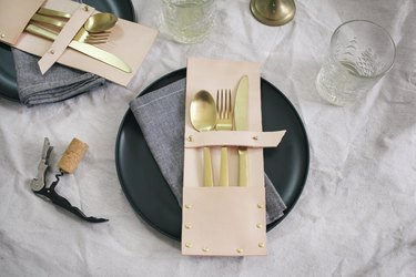 Flatware added to leather pockets