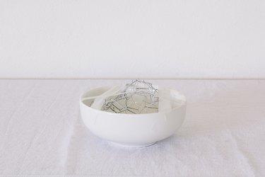 Chicken wire taped inside vase