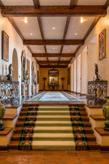hallway of mansion with steps