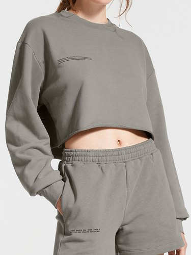 pangaia shorts and cropped sweatshirt in grey