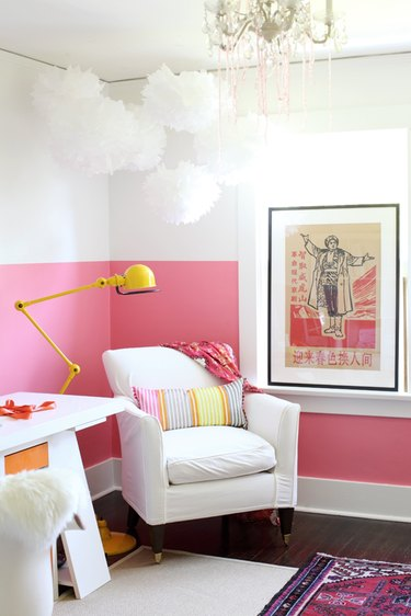 A pink-and-white wall.