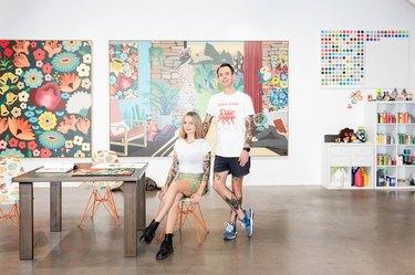 artist duo DABSMYLA in their studio