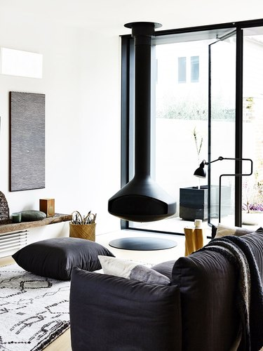 hanging fireplace in modern living room