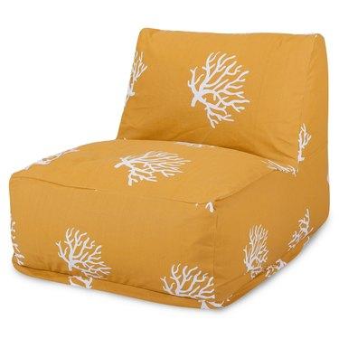 Coral print yellow bean bag chair