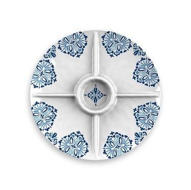 Blue and white melamine serving platter