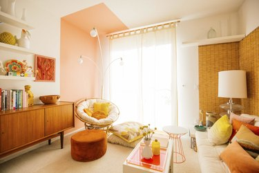 orange color block on wall and ceiling