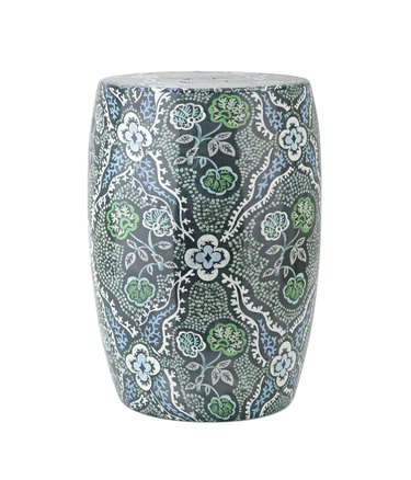 Blue and green painted garden stool