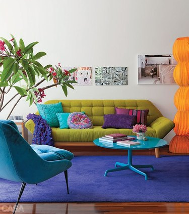 Bright colorful furniture in a white living room