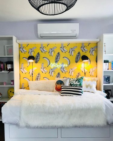 headboard covered in removable wallpaper