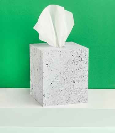 tissue box covered in faux concrete removable wallpaper