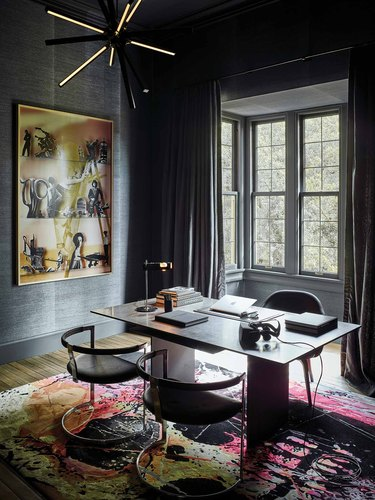 black dining room color idea with black ceiling