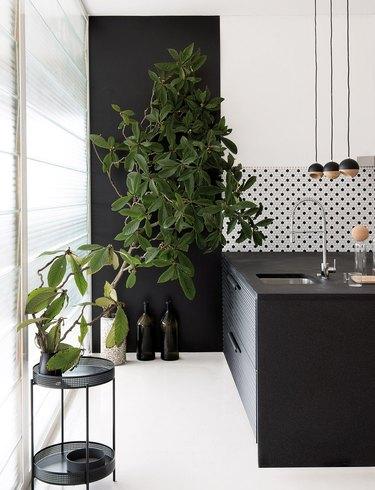 black and white kitchen with patterned tile backsplash