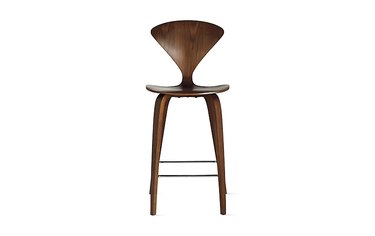 Wooden Cherner stool, armless, in walnut finish