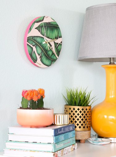tropical wall clock covered in removable wallpaper