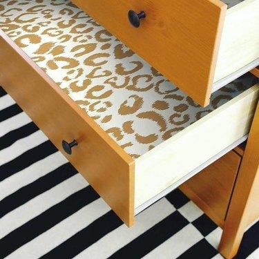 removable wallpaper cheetah drawer liner